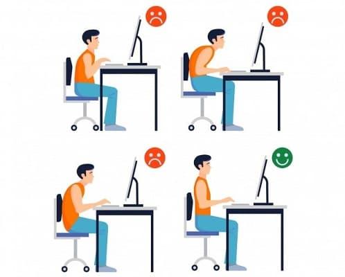 ارتفاع نامناسب صندلی از عادت های بد نشستن
